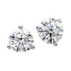 Flawless D Color GIA Certified 2.60 Carat Round Diamond Studs