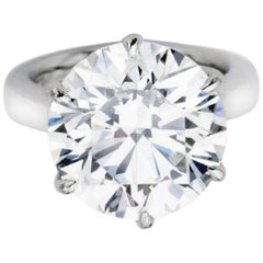 Flawless D Color GIA Certified 3.59 Carat Round Brilliant Cut Diamond Ring Plat