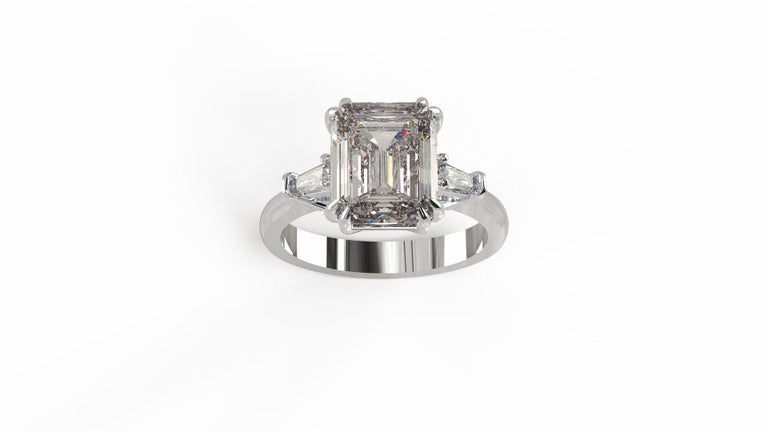 Women's GIA Certified 4.50 Carat Emerald Cut Diamond Ring For Sale