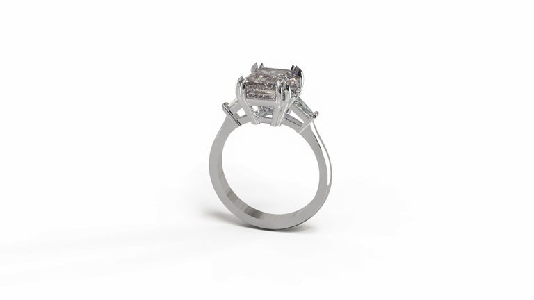 GIA Certified 4.50 Carat Emerald Cut Diamond Ring For Sale 1