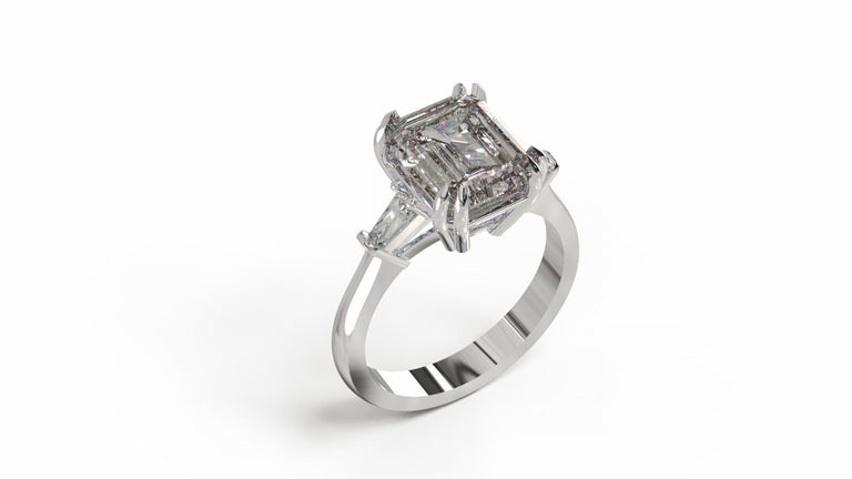 GIA Certified 4.50 Carat Emerald Cut Diamond Ring For Sale 2