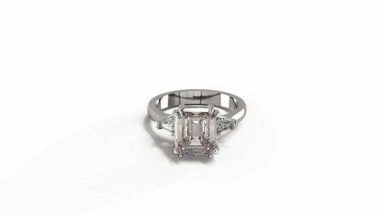 GIA Certified 4.50 Carat Emerald Cut Diamond Ring For Sale 3