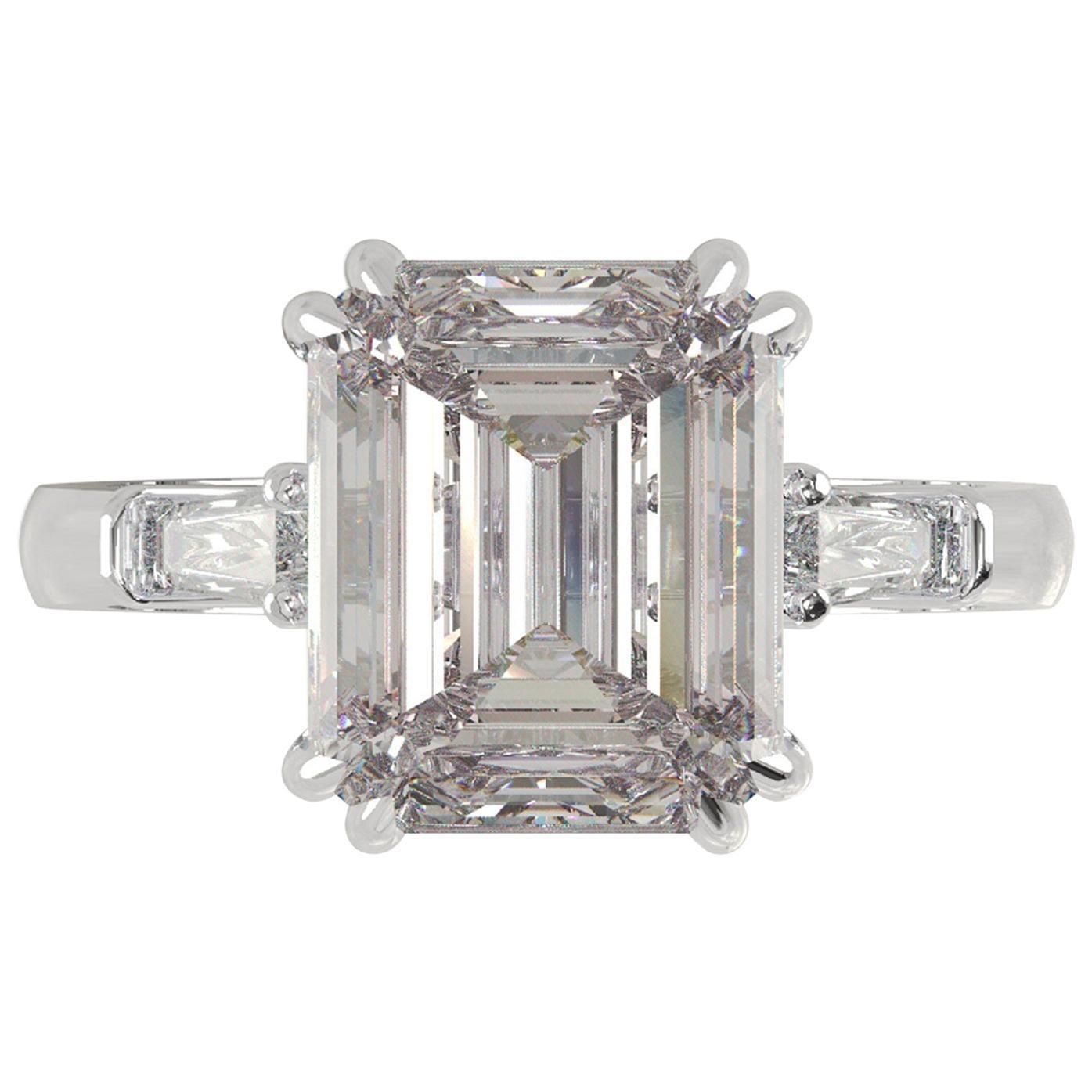 I FLAWLESS GIA Certified 2.50 Carat Emerald Cut Diamond Ring