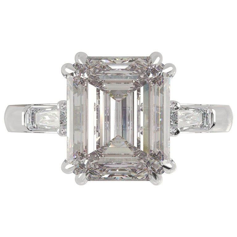 GIA Certified 4.50 Carat Emerald Cut Diamond Ring For Sale