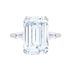 Flawless Type IIA D Color GIA Certified 4 Carat Emerald Cut Platinum Ring