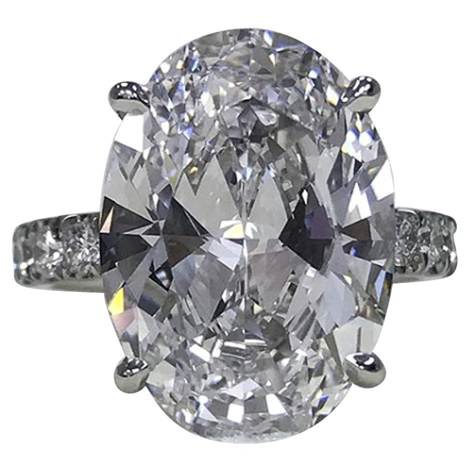Flawless D COLOR GIA Certified 5.75 Carat Oval Diamond Platinum Ring