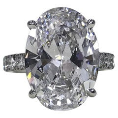 Flawless D COLOR GIA Certified 5 Carat Oval Diamond Platinum Ring