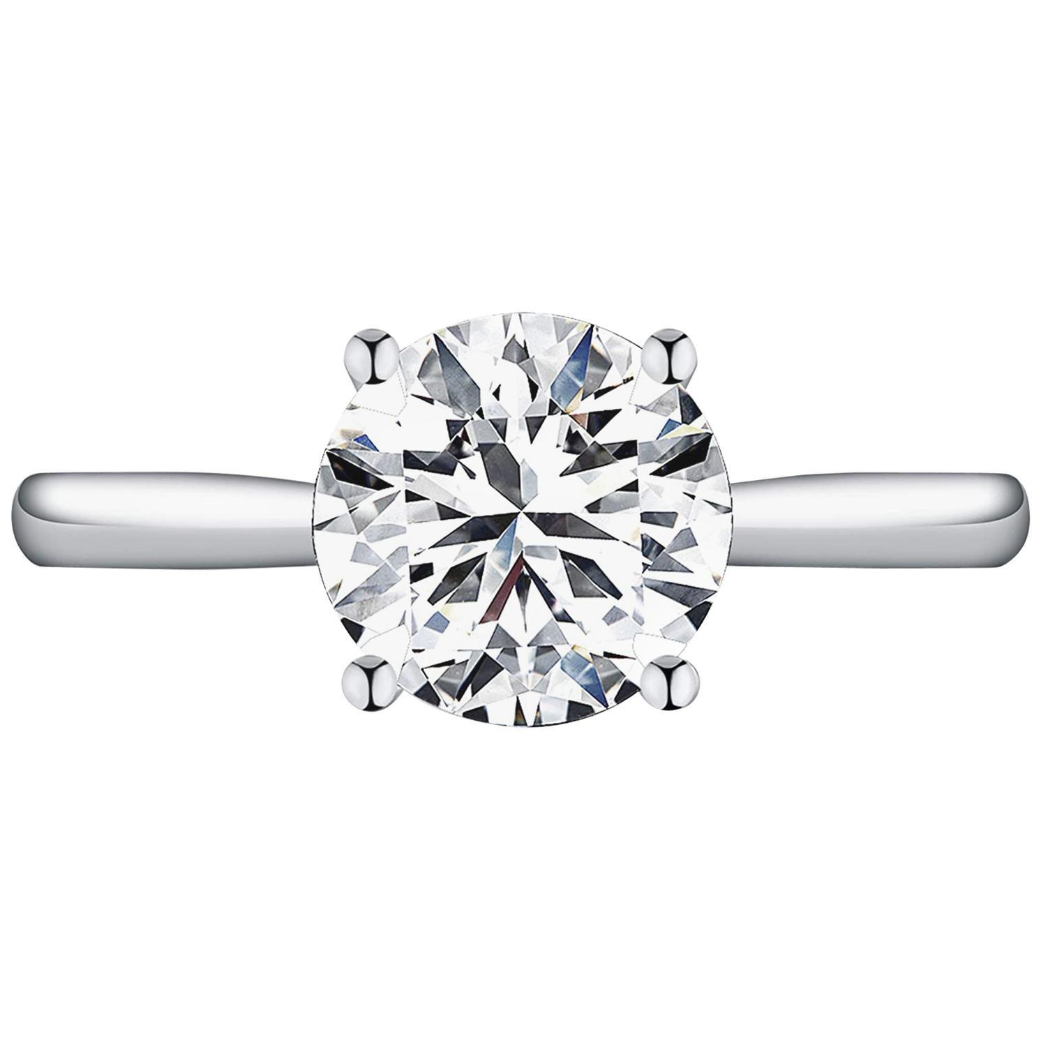 GIA Certified 1.20 Carat Round Brilliant Cut Platinum Ring