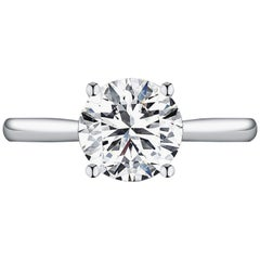 GIA Certified 1.20 Carat Round Brilliant Cut Platinum Ring