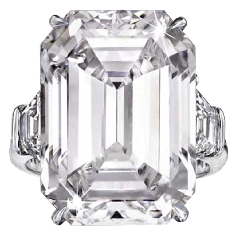 FLAWLESS D Color GIA Certified 4 Carat Emerald Cut Diamond Ring