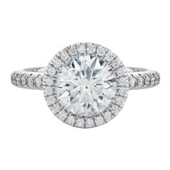 Flawless F Color GIA Certified Halo 3 Carat Round Brilliant Cut Diamond Ring