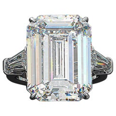 Flawless GIA Certified 10.16 Carat Emerald Cut Diamond Ring Investment Grade