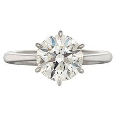 GIA Certified 2.40 Carat Round Brilliant Cut Solitaire Ring