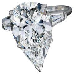 Flawless GIA Certified 3.54 Carat Pear Cut Diamond Ring