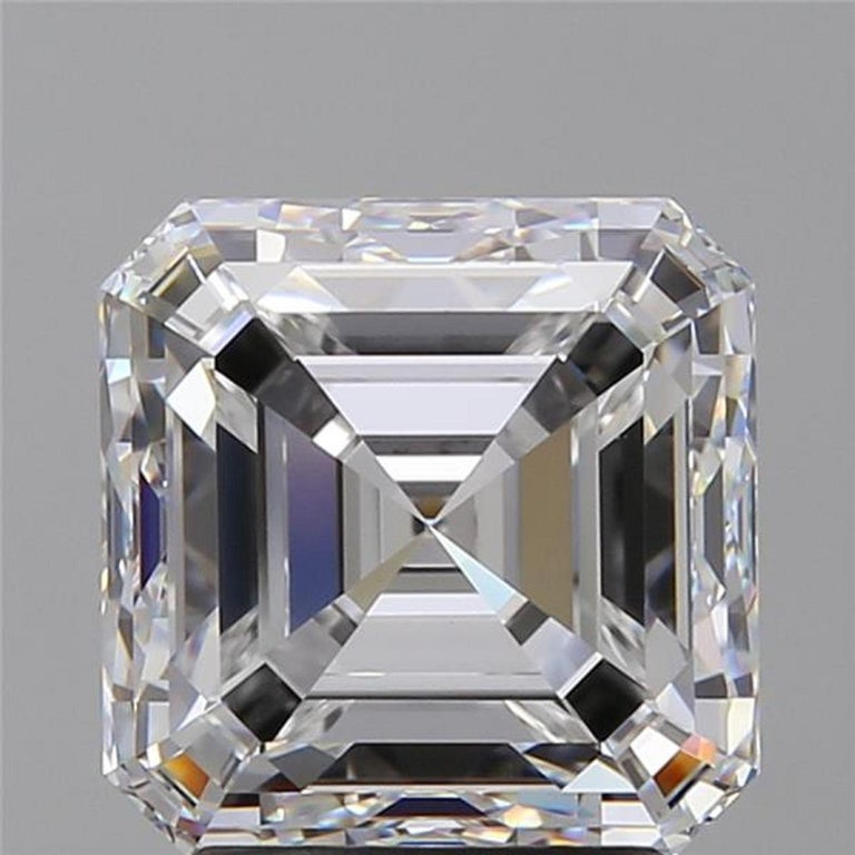 An exquisite ring composed by a main 4 carat asscher cut diamond h in color si1 in clarity and excellent cut and polish the side diamonds are tapered baguettes  the ring is set in solid platinum