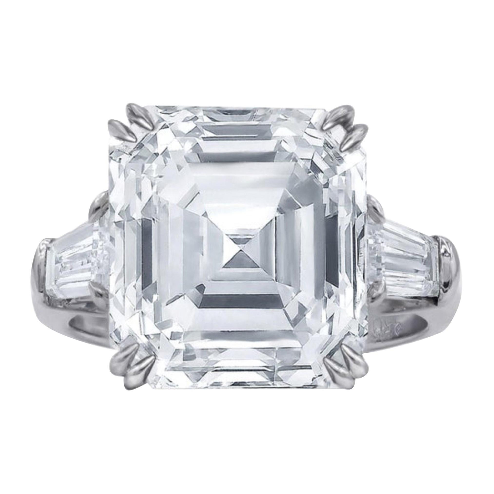 Flawless GIA Certified 3.65 Carat Asscher Cut Diamond Platinum Ring