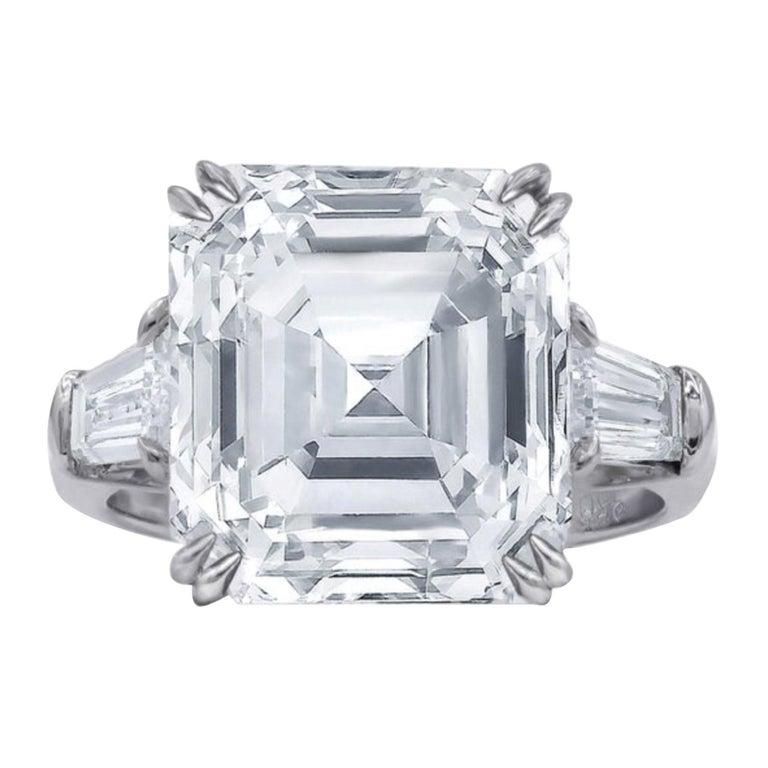 GIA Certified 4.65 Carat Asscher Cut Diamond Platinum Ring For Sale