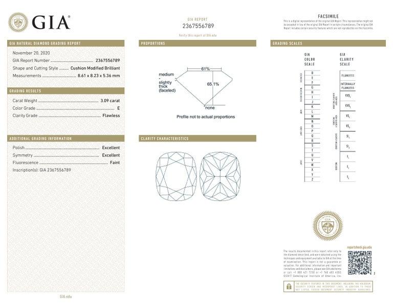 Cushion Cut FLAWLESS GIA Certified 3.65 Carat Cushion Modified Brilliant Cut Diamond Ring For Sale