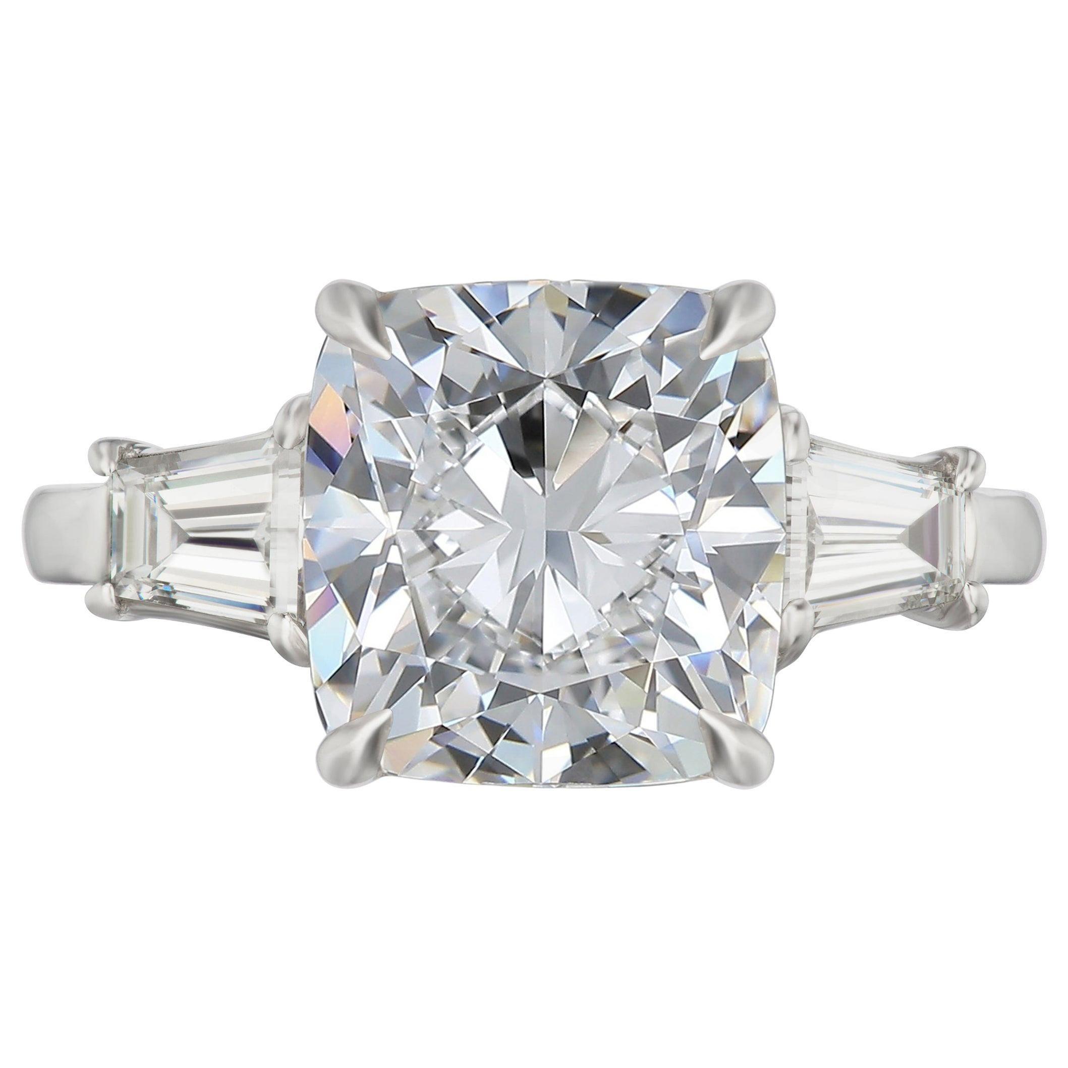 GIA Certified 3 Carat Cushion Modified Brilliant Cut Diamond Ring E Color VVS2