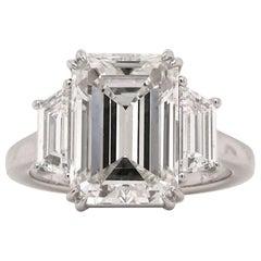 Flawless GIA Certified 3.96 Carat Excellent Cut Emerald Cut Diamond