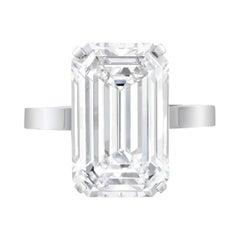 GIA Certified 4 Carat Emerald Cut Platinum Ring VVS2 Clarity F Color