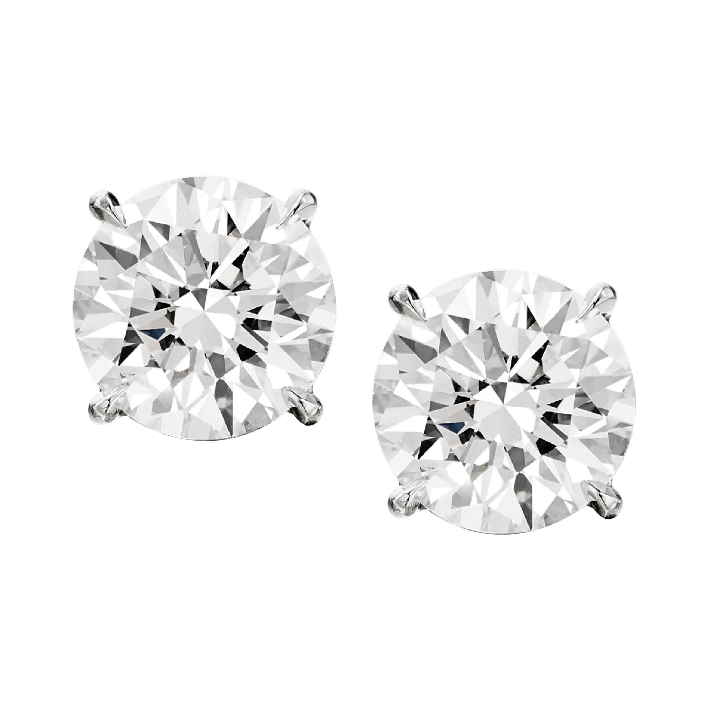 Flawless GIA Certified 4 Carat Round Brilliant Cut Diamond Studs