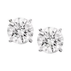 Flawless GIA Certified 3.80 Carat Round Brilliant Cut Diamond Studs