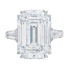 GIA Certified 6.50 Carat Emerald Cut Diamond Platinum Ring