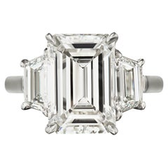 GIA Certified 5 Carat Emerald Cut Three Stone Engagement Ring