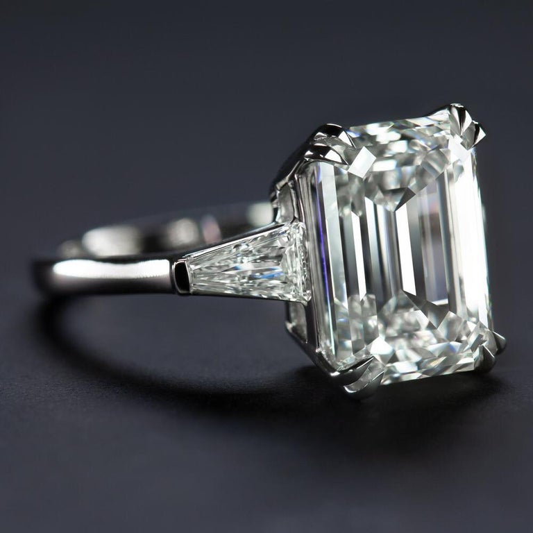 Antinori Fine Jewels is proud to offer this important and impressive 5.75 carat GIA certified D Color VS2 Clarity Emerald cut diamond ring.   Antinori Fine Jewels one of the most prestigious jewelry stores in Rome an unparalleled level of excellence