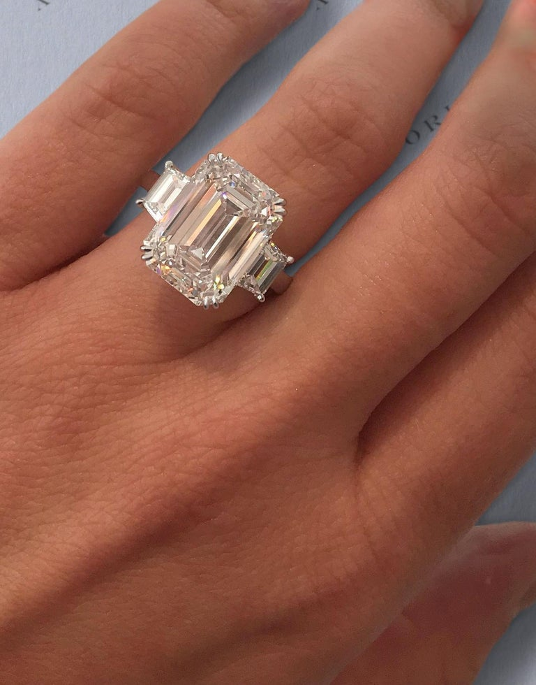 Antinori Fine Jewels is proud to offer this important and impressive 5.75 carat GIA certified D Color FLAWLESS Clarity Emerald cut diamond ring.   The ring consists of one emerald cut diamond weighing 5.01 carat accompanied by a GIA report No.