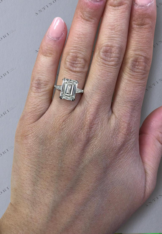 Modern GIA Certified 5.75 Carat Emerald Cut Diamond Platinum Ring VS2 Clarity D Color For Sale