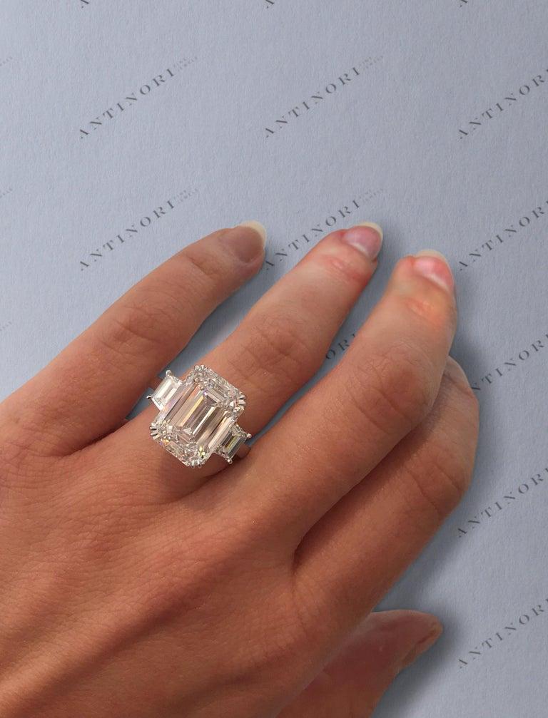 Modern Flawless GIA Certified 5.75 Carat Emerald Cut Diamond Platinum Ring For Sale