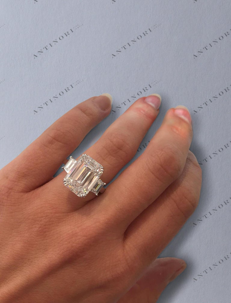 IMPORTANT Flawless GIA Certified 5.75 Carat Emerald Cut Diamond Platinum Ring For Sale 1