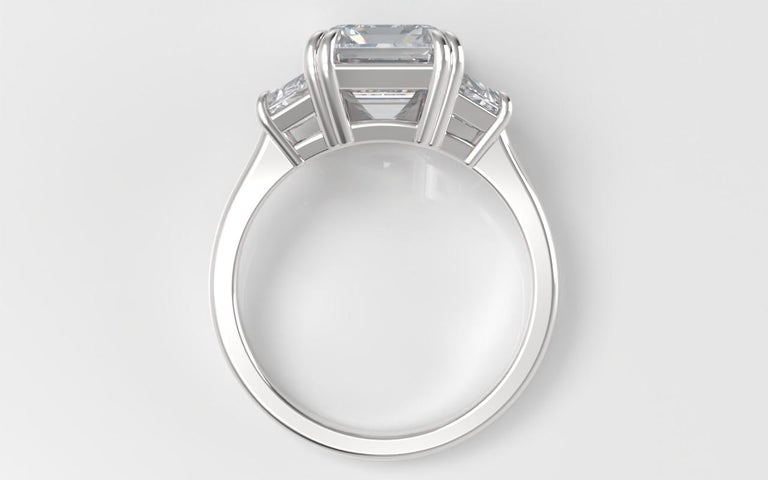 Women's or Men's EXCEPTIONAL FLAWLESS GIA Certified 5 Carat Emerald Cut Diamond Platinum Ring For Sale