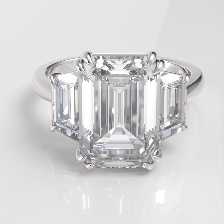Antinori Fine Jewels is proud to offer this important and impressive 5.75 carat GIA certified D Color FLAWLESS Clarity Emerald cut diamond ring.   The ring consists of one emerald cut diamond weighing 5 carat accompanied by a GIA report The 5 center