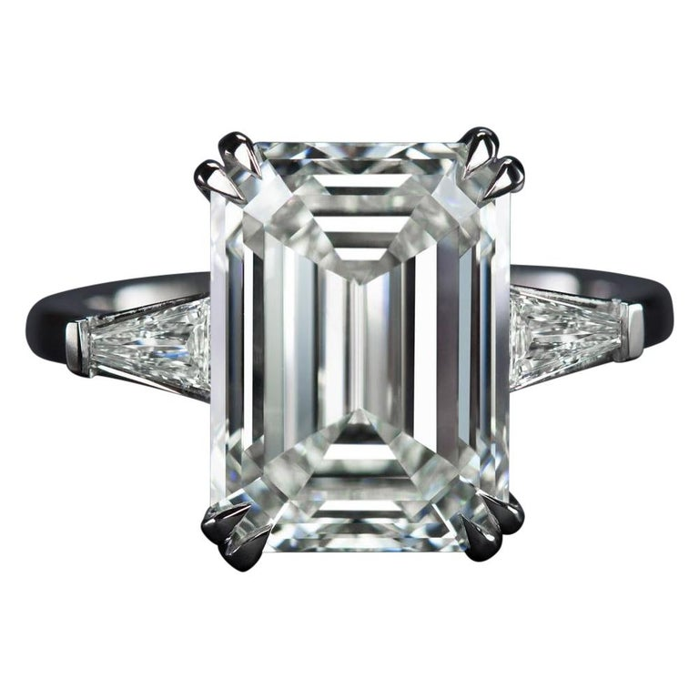 GIA Certified 5.75 Carat Emerald Cut Diamond Platinum Ring VS2 Clarity D Color For Sale