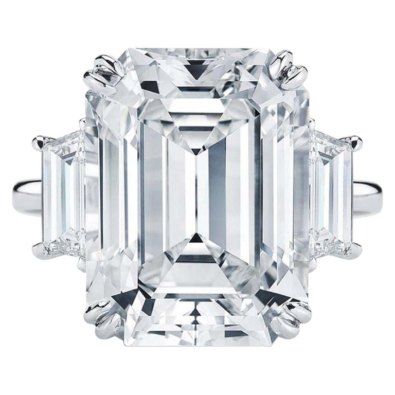 Flawless GIA Certified 5.75 Carat Emerald Cut Diamond Platinum Ring For Sale