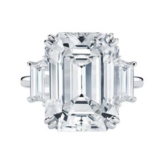 Flawless GIA Certified 5.75 Carat Emerald Cut Diamond Platinum Ring