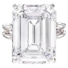Flawless GIA Certified 6 Carat Emerald Cut Diamond Ring