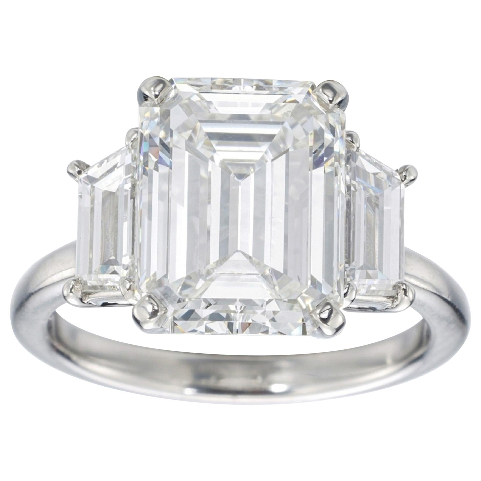 Flawless GIA Certified 6.02 Carat Emerald Cut Tapered Baguettes Diamond Ring
