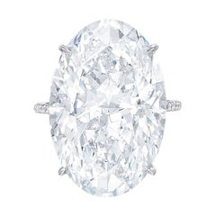 Flawless GIA Certified 7 Carat Oval Diamond Platinum Ring