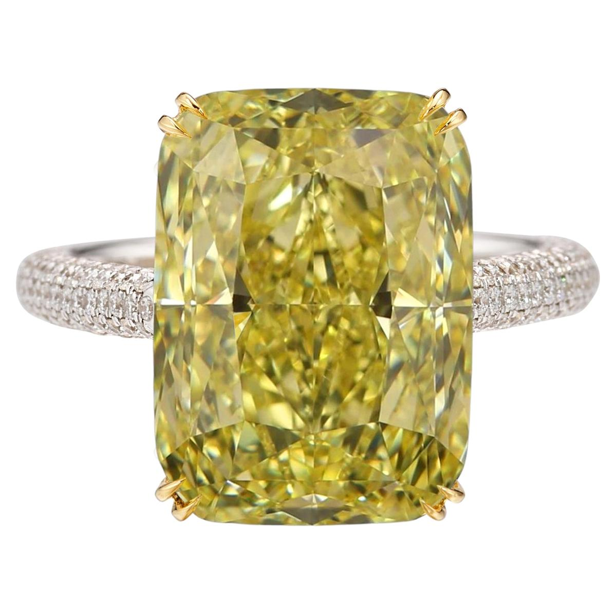 Flawless GIA Certified 8 Carat Fancy Intense Yellow Diamond Ring
