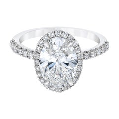 Flawless GIA D Color Certified 2.50 Carat Oval Diamond Platinum Ring