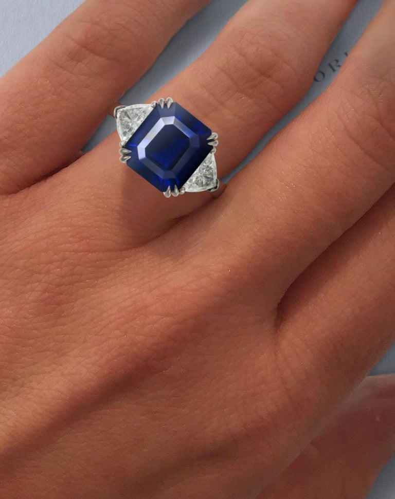 Antinori Fine Jewels is proud to offer this important flawless sapphire and diamond ring.   Where shall we look for an apt definition for this flawless royal blue sapphire? With it's hiptonic glow and ultramarine hue, we could liken it to the