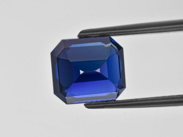 Emerald Cut FLAWLESS GRS Certified 5.75 Carat Royal Blue No Heat Blue Sapphire Diamond Ring For Sale