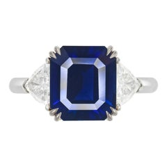 FLAWLESS GRS Certified 5.75 Carat Royal Blue No Heat Blue Sapphire Diamond Ring