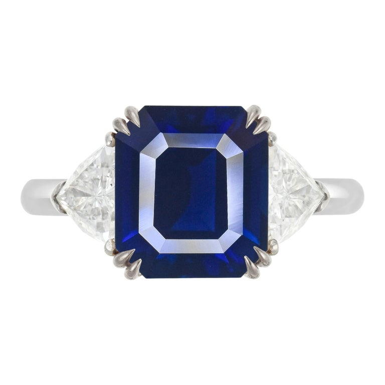 FLAWLESS GRS Certified 5.75 Carat Royal Blue No Heat Blue Sapphire Diamond Ring For Sale