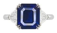 FLAWLESS GRS Certified 5.75 Carat Royal Blue NO HEAT Blue Sapphire Diamond Ring
