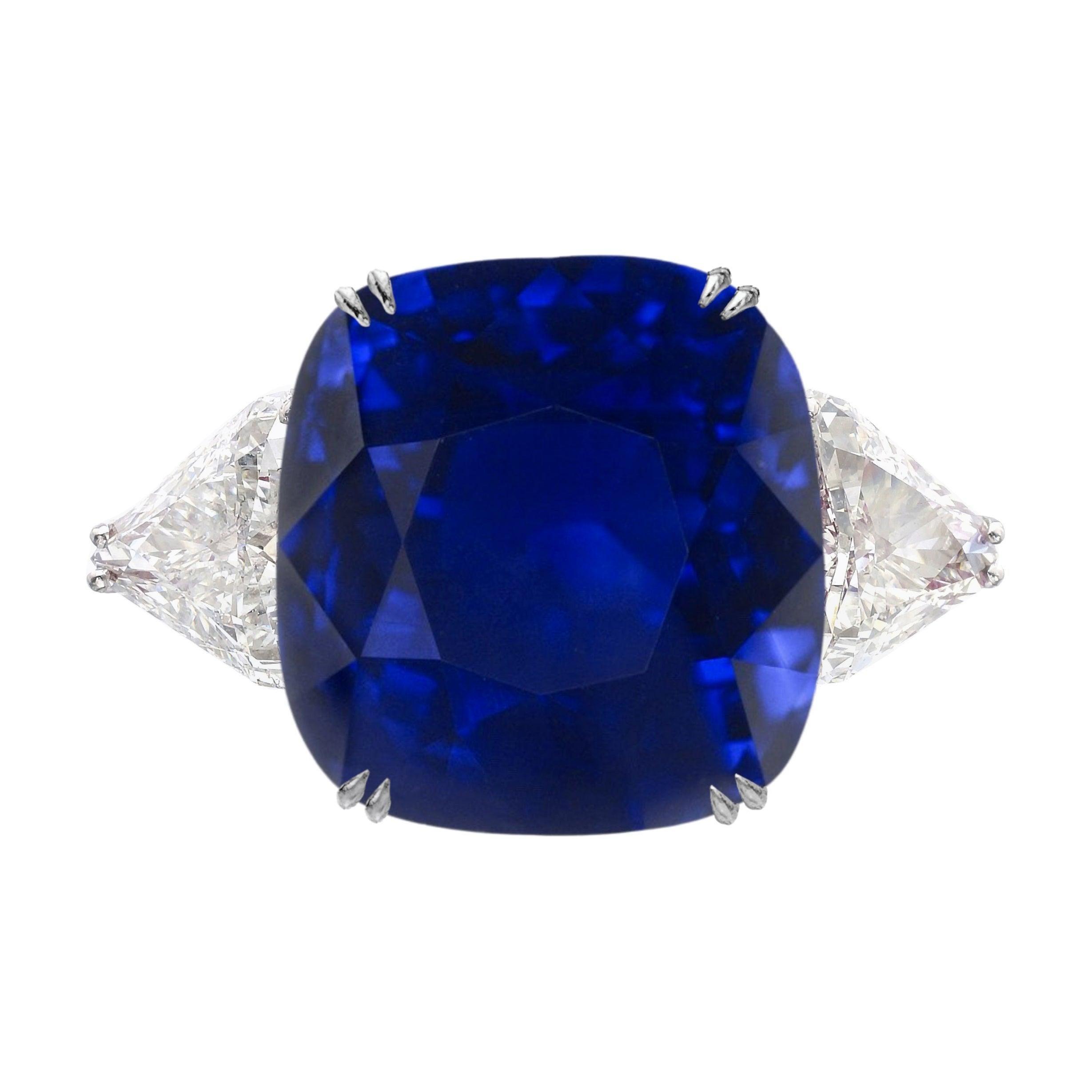 Flawless GRS Switzerland Deep Royal Blue 3 Carat Cushion Sapphire Ring